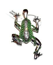 NECKLACE/PENDANT Magnetic Bail Rhinestones & Green Enamel LARGE LEAPING FROG