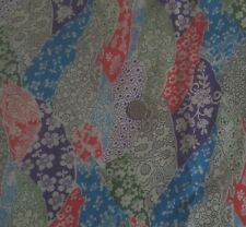 "Sheer Cotton Fabric Mod Floral Purple Orange Blue Green on Neutral 44""W 5 Yards"