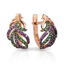 Earrings New Russian Rose gold 585 14K  zircon 3.39g Free Shipping Best Price