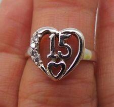 14K WG 15 ANOS HEART DIAMOND Quinceanera RING .05 tcw SZ 6 E16028  3.25 grams