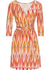 Kleid Minikleid 48 50 orange gemustert Jerseykleid Stretch Ethno Print