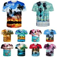 Hawaiian 3D Print Mens Womens Casual Short Sleeve Crew T Shirt Graphic Tee Tops