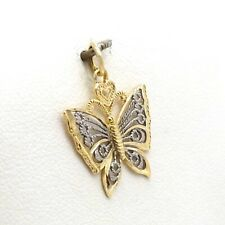 New 10k Two Tone Gold Filigree Butterfly Charm Pendant