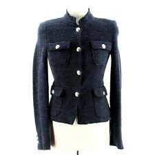 Zara Fantasy Blazer Boucle Jacket in Navy Blue UK 6 (XS)