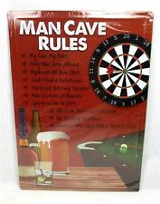 Man Cave Rules Metal Novelty Funny Sign Indoor Outdoor Garage Bar Game Room