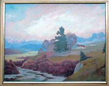 Voralpenlandschaft Ölgemälde 1930er Jahre Paul Groß 1873-1942 Neue Sachlichkeit