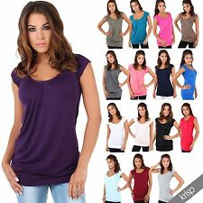 KRISP Ladies Low Cut Plain Hip Long Line Top T Shirt Tunic Summer Holiday 7604