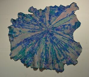 NEW Cowhide Rug Suede Leather pillows tie dyed Blue white pink purple large XL