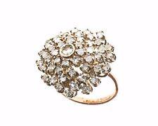 Anello in stile antico oro 14 kt 500 mill.  argento 925 diamanti taglio a rosa