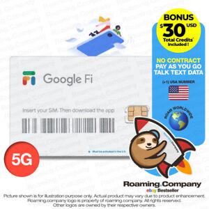 🚀 Google Fi Talk Text Data USA 5G SIM Card [+$30] World 4G Travel 200 COUNTRIES