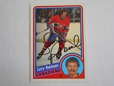LARRY ROBINSON 84-85 OPC AUTOGRAPHED CARD W/COA