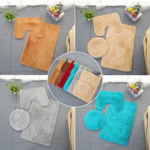 3 Piece Pure Color Plush Bathroom Rug Set Bath Mat Contour Rug Toilet Lid Cover