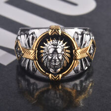Retro Mens Two-Tone Indian Spirit of The Warrior Fashion Indian Chief Ring !!