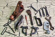 Antique Vtg Estate Hand Tool Lot Planer Clamps Vice Pipe Wrench Valve Remover