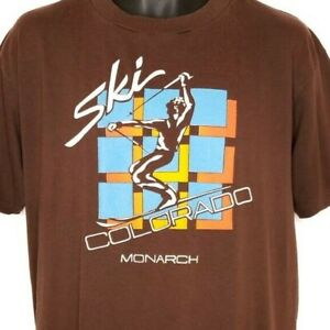 Ski Monarch Mountain T Shirt Vintage 80s Skiing Colorado 50/50 Made In USA XL