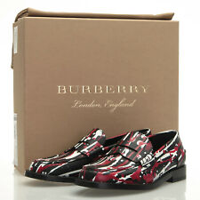 Burberry Bedmont L SP Fuchsia Splatter Black Red Loafers - Size 37 EU (7 US)