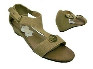 Ladies Shoes Grosby Samantha Taupe Wedge Sandal Size 7