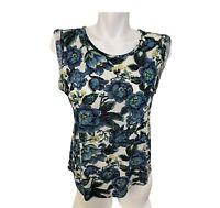 Ann Taylor LOFT Womens Sleeveless Floral Linen Tank Top Size Small Petite SP