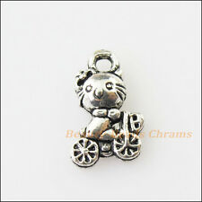 15Pcs Antiqued Silver Tone Animal Cat On Bicycle Charms Pendants 7x12mm