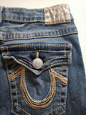 87b66f219 TRUE RELIGION Crop Denim Blue Jeans Joey Rainbow SIZE 30 Made USA