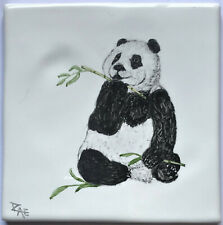 Hand painted Panda design tile, handmade in  U.K.