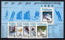 TOGO , 1980 , OLYMPICS , scarce S/S SET of five 1000 FR. stamps and SET, MNH !!