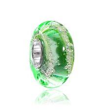 MATERIA Muranoglas Beads Anhänger Luftbläschen Sterling Silber grün für Armband