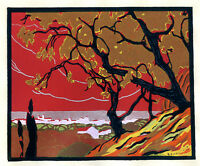 1930s French Pochoir Colored Print L. Chapuis Asian Landscape Fall Trees