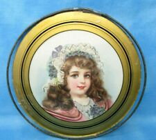 Vintage Flue Cover Round Glass Framed Picture of Young Girl 10 inch gold trim