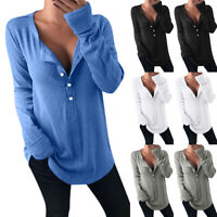 Women Button Long Sleeve Loose Blouse Tops Ladies Cotton Blend Casual Shirt Tops