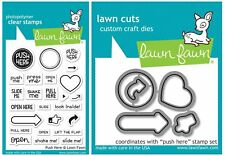 Lawn Fawn Clear Stamps & Dies - Push Here - Press Pull, Open, Slide, Look Inside