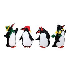 ID 8219A-D Set of 4 Penguins Winter Antarctic Birds Iron On Applique Patches