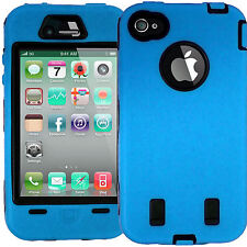 Light Blue HARD ShockProof CASE With Screen Protectors for IPHONE 4 4S 4G Safety