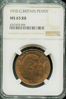 GREAT BRITAIN - SPECTACULAR (GRADED MS65 RB) EDWARD VII PENNY, 1910, KM# 794.2