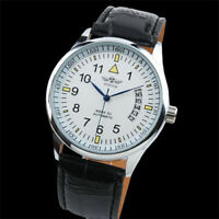 Mens Watch Automatic Mechanical White Dial Leather Strap Date Display Luxury