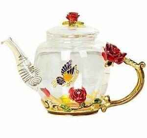 350ml Hot Cold Teapot 18.7x9cm Enamel Crystal Flower Glass Home Drinkware Kettle