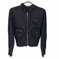 Wearables By XCVI Black Long Sleeve Full Zip Utility Jacket Women's Size Small