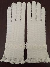 New Vintage Look Adult White Crochet Gloves Above the Wrist (Boutross):GL3W