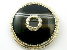 Vintage or Antique large sterling silver circular brooch with brown banded agate