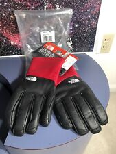 NWT Supreme The North Face Men's Black Red Genuine Leather Gloves FW17 AUTHENTIC