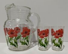 Vintage Glass PITCHER Ice Lip Clear w/ Red and Green Daisy Flowers