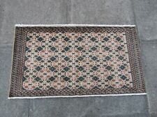 Vintage Traditional Hand Made Oriental Brown Beige Wool Small Rug 55x105cm