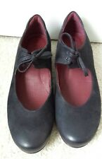ECCO Sculptured Black Nubuck Leather Lace Up Mary Jane Shoes Size 38