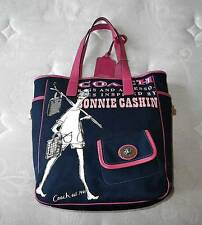 NEW Coach Bonnie Cashin Graphic Navy Blue Pink LG Canvas Tote Bag Purse WOW!
