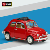 BBURAGO 1968 Red Fiat 500L 1:24 Scale Car Model Toys Diecast Collectible Vehicle