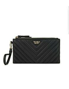 Victoria's Secret VS Black V-Quilt Doble zip Wallet Wristlet