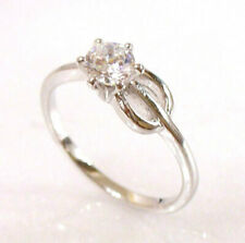 White Gold Plated Clear CZ Cubic Zirconia Engagement For Her Ring Size 6 L UK