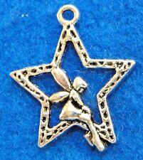 50Pcs WHOLESALE Tibetan Silver ANGEL In STAR Charms Pendants Earring Drops Q1132