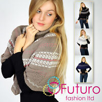 New Winter Knitted Chunky Poncho Funnel Mantle Style Jumper Wrap Top Artemida