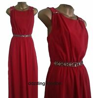 WOMENS STUNNING DEBENHAMS DIAMOND By JULIEN MACDONALD RED MAXI DRESS PARTY 8-18